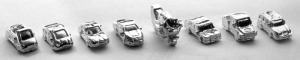 metal pewter nickel plated vehicles game pieces: sports car, economy, luxury, SUV, truck, motorcycle, convertible